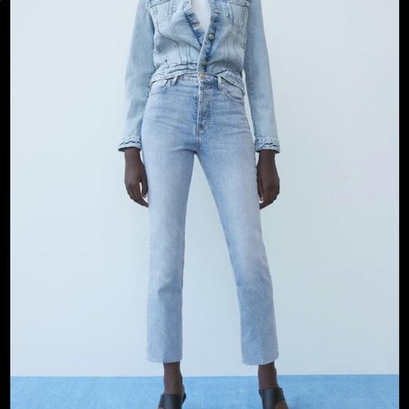 Zara silver effect ankle jeans